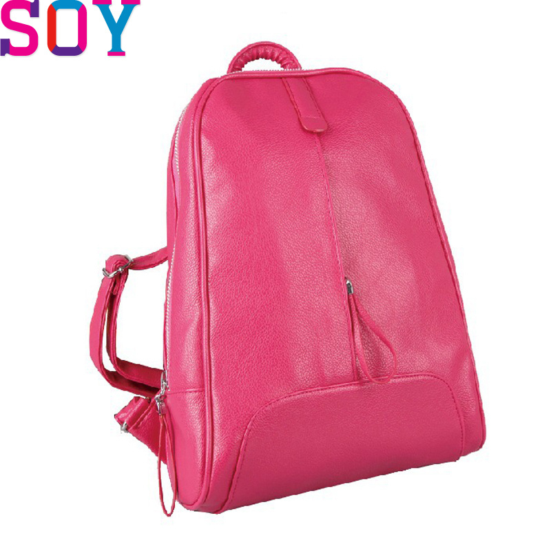 Superb of you 2015 Women Backpacks Brand Design Good Quality School Backpacks PU Leather Pure Color Backpacks Mochila LS1608S