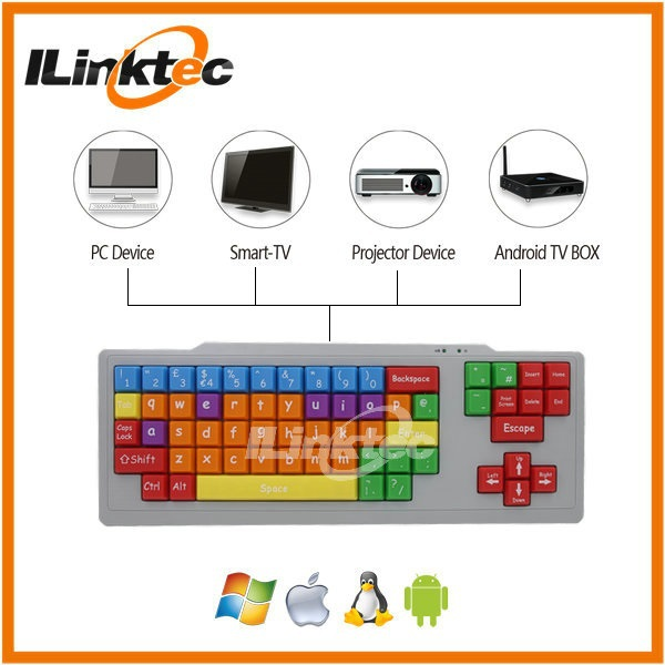 HOT Sale USB colorful kids games keyboard big size letters keyboard for kids