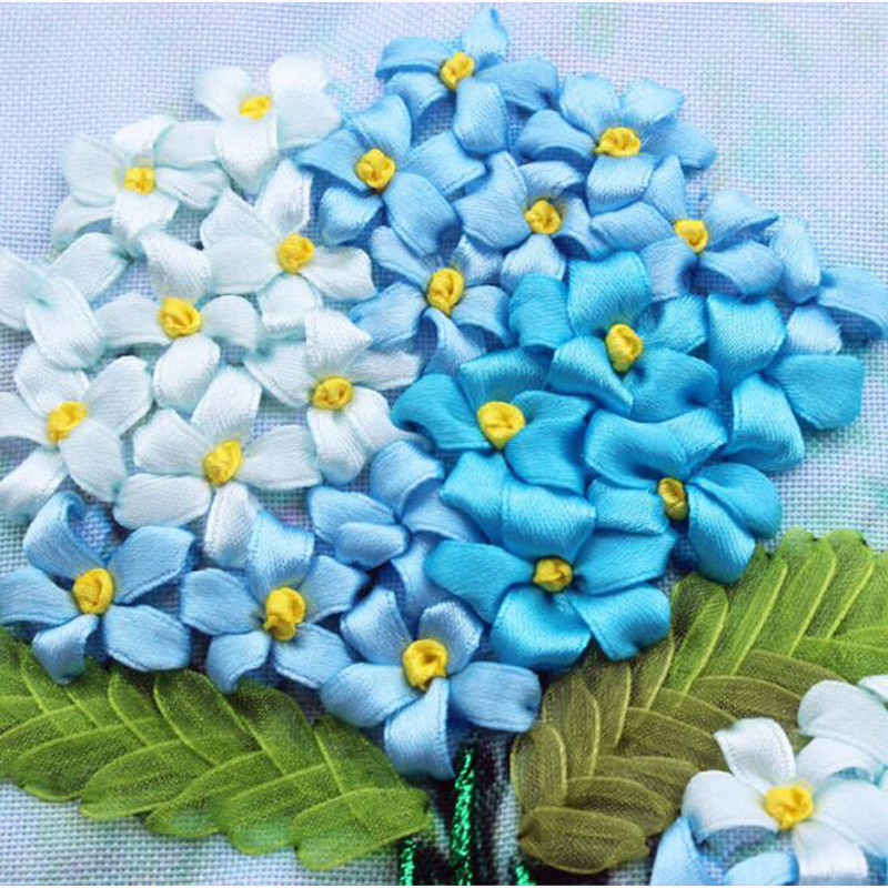 SD-4 White flower silk ribbon for embroidery cross stitch