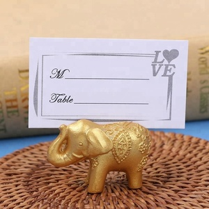 a66f02f7388b Lucky Golden Elephant Name Place Card Holders Wedding Souvenirs Favors