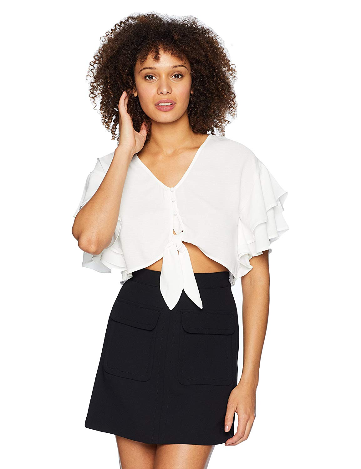 a541864309a Get Quotations · Moon River Women s Ruffled Short Sleeve Crop Top with  Front Tie