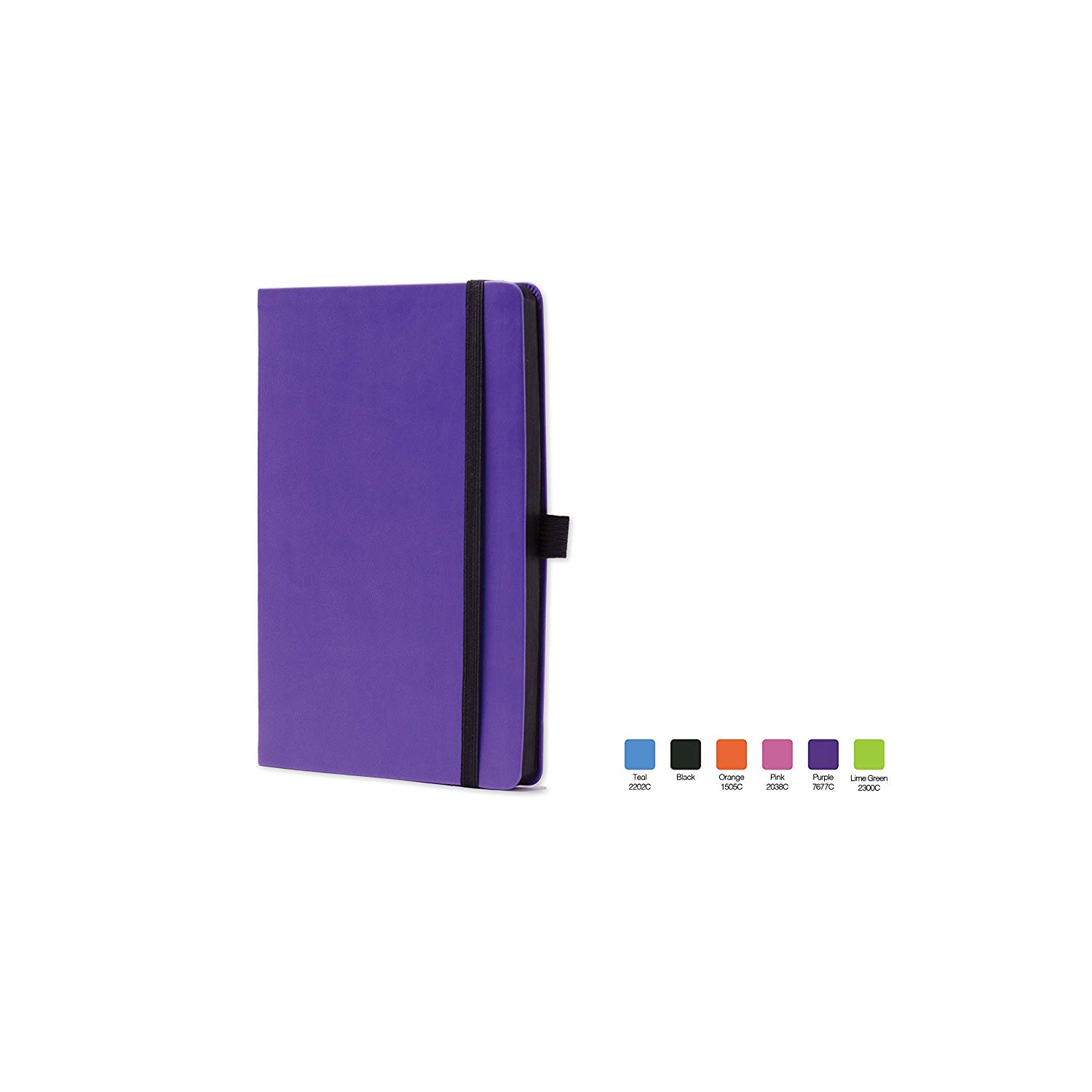 """CALYPSO Ruled, Flexicover Notebook Journal with Premium Paper, 192 Lined Pages, Pen loop, Bookmark ribbon, Gusseted back pocket, Purple Cover, Size 5.5"""" x 8.5"""""""