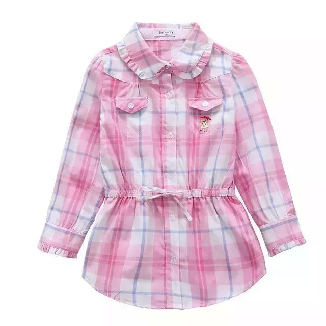 1914d77fd Get Quotations · 2015 hight quality new girl spring and autumn long plaid  shirt kids full sleeve shirts big