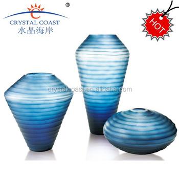 Elegant Hand Blown Glass Wall Artcut Glass Lamp Shadeblue Glass