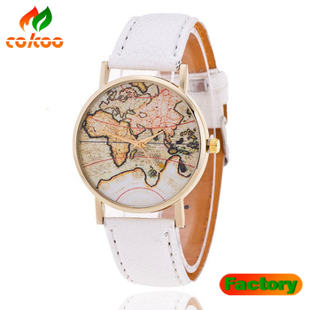 New Women Vintage Earth World Map Watch Leather Wrist Watches High ...