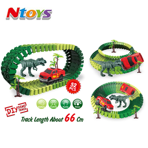 Best Seller Amazon latest toys Race Track Dinosaur Track set 52 PcsToy Car Flexible building block -track 66 cm