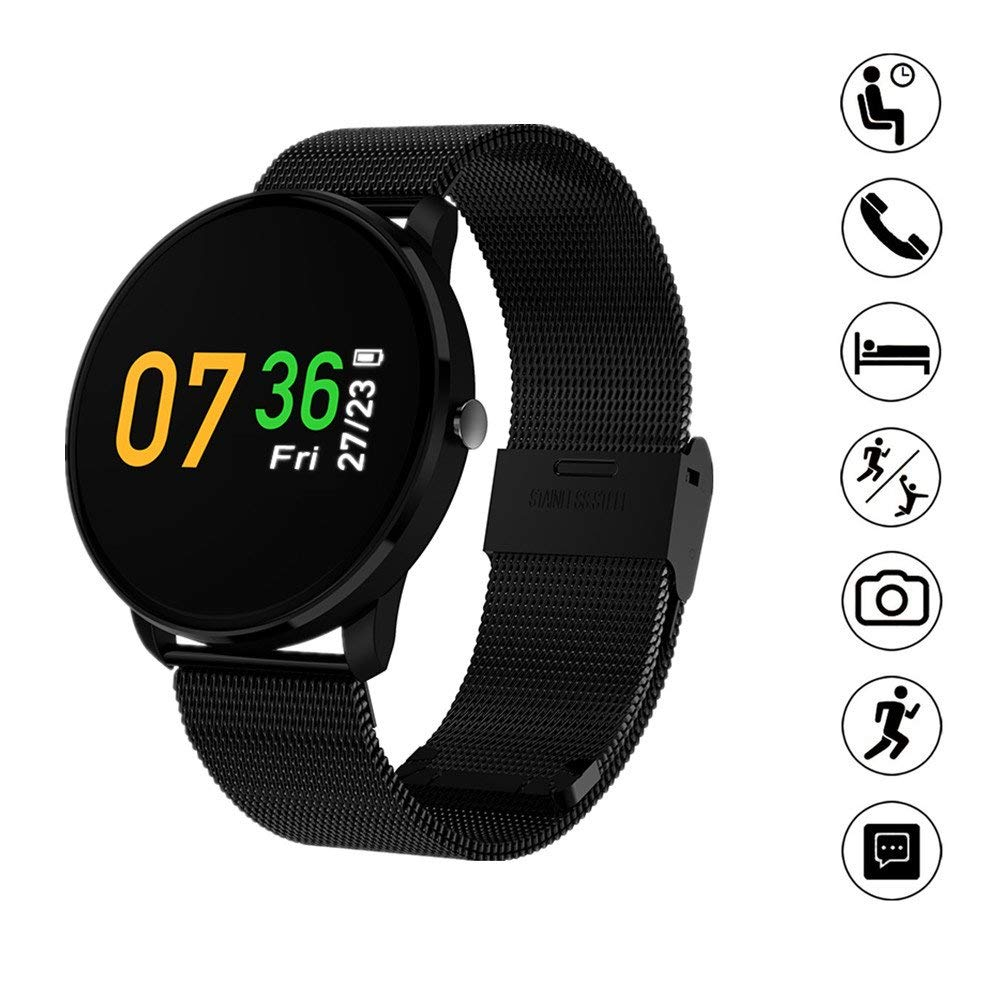 TechCode Fitness Tracker Waterproof, Smart Bracelet Color LCD Screen Smart Band Heart Rate Blood Pressure Monitor Smart Bracelet Wristband Fitness Tracker Watch for Women Kids Men (Black)