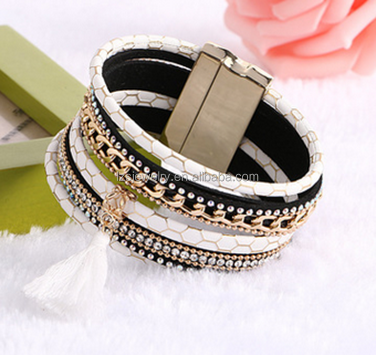 Fahion customized multilayer rhinestone leather wide bracelet with tassels