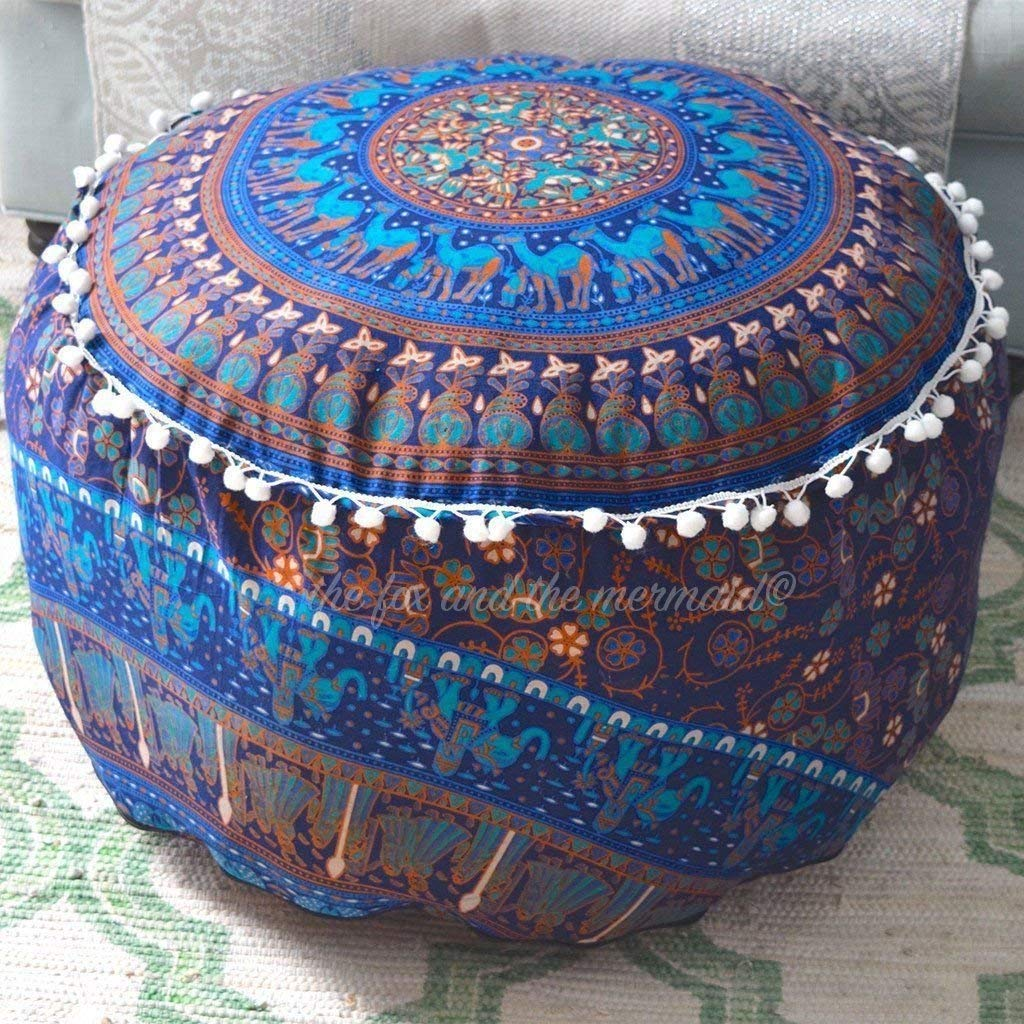 HANDICRAFT-PALACE Indian Cotton Handmade Mandala Pouf Footstool Round Pouf Cover Ottoman Cover Footstools Size 24 x 14 inch Sold
