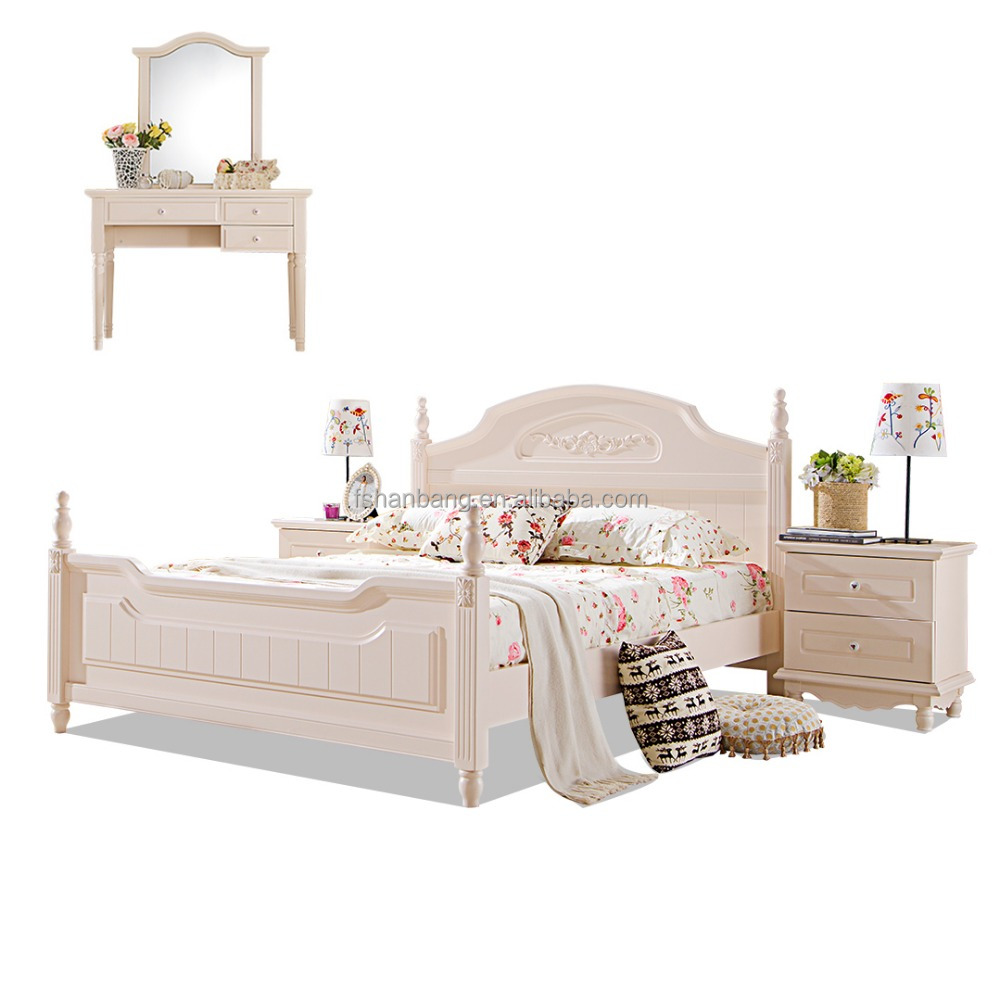 White Sleigh bed 4 pieces Contemporary Wooden Bedroom Furniture Set