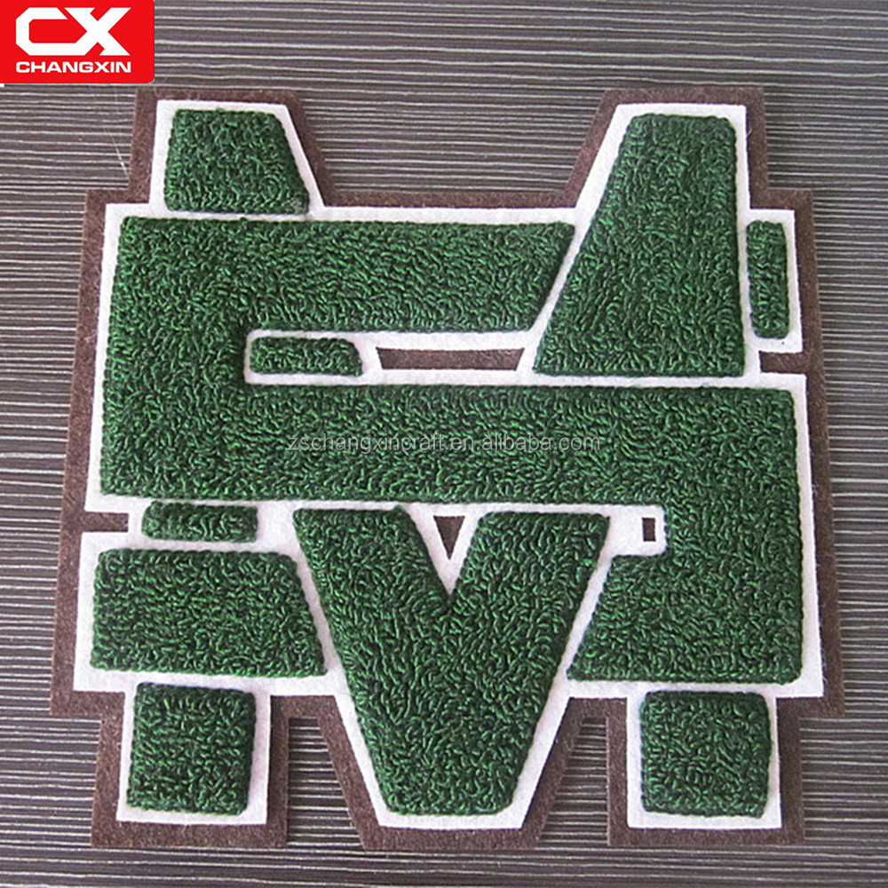 Custom iron on chenille letter patch for jackets