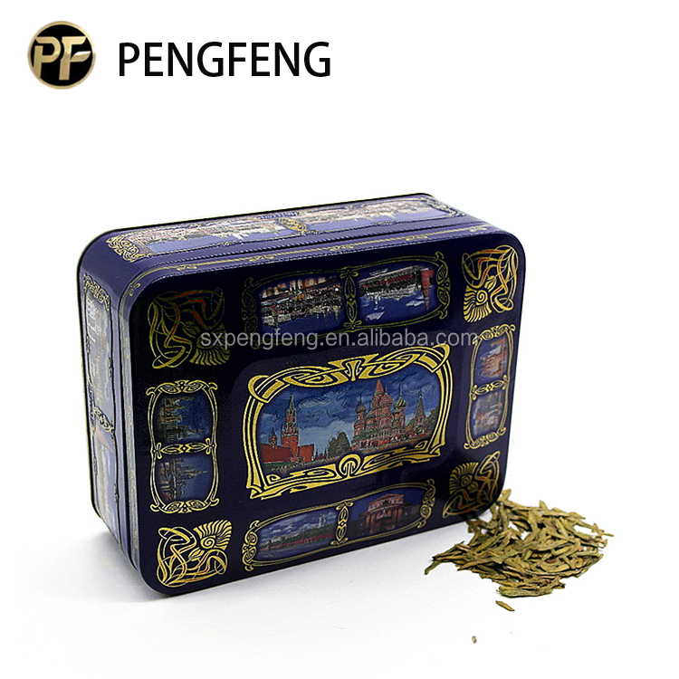 rectangular metal tea tin box 4pcs/set