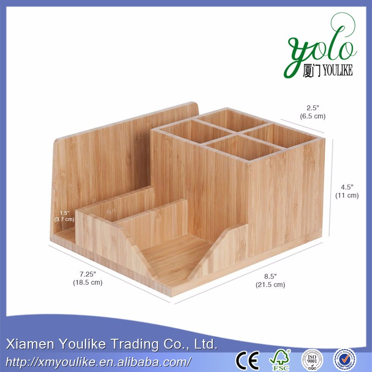 Bamboo Kitchen Organizer Utensil Holder with Spoon Rest Storage Compartments
