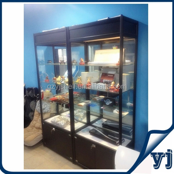 Retail Store Black Glass Display Cabinetlockable Display Cabinet