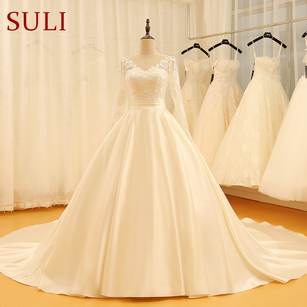 Ivory Lace Up Built In-bra Ball Gown Wedding Gown / Dresses - Buy ...