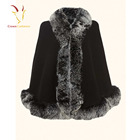 High Quality Cashmere Shawl Scarf with Real Fox Fur Trim Custom Cashmere Shawl