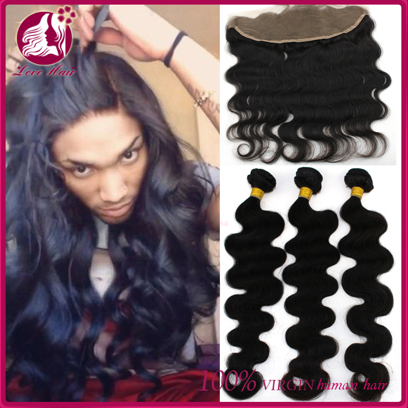 High Quality Lace Frontal Closure With Bundles Body Wave 13x4 Ear To Ear Full Lace Frontals Baby Hair 3 Virgin Human Hair Weave