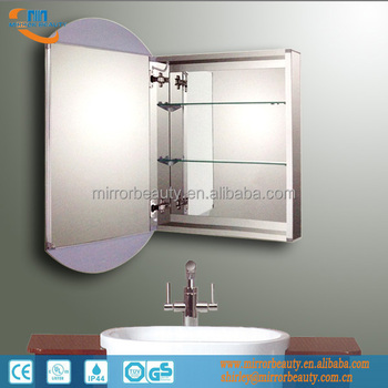 Led Aluminum Bathroom Mirror Cabinet With Adjustable Glass Shelf