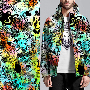 Colorful custom fashion men air layer digital printed coat fabric