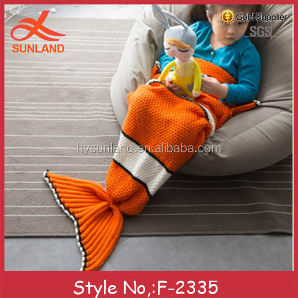 F-2335 new 100% acrylic high quality kids mermaid tails blankets for sale