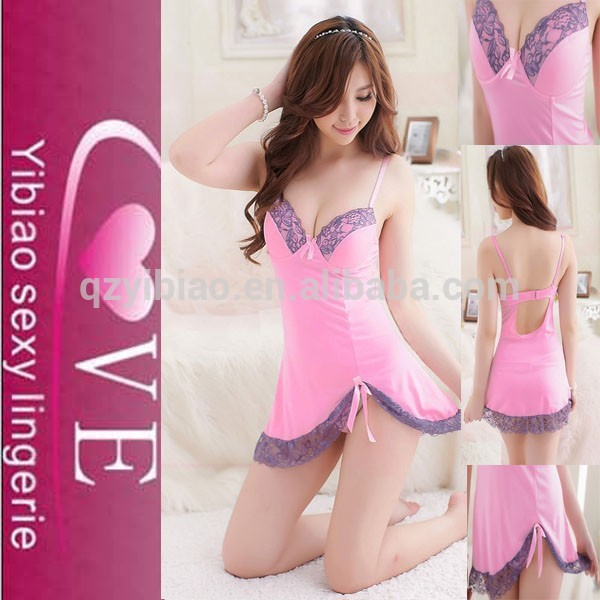 China Transparent Sexy Hot Japanese Girl Lingerie Lace Up Mini Nightwear Lace Babydoll