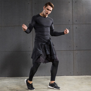 Jogging Suit Men's Compression Leggings Long Short Sleeves Short Pants Hoodies Fitness Set