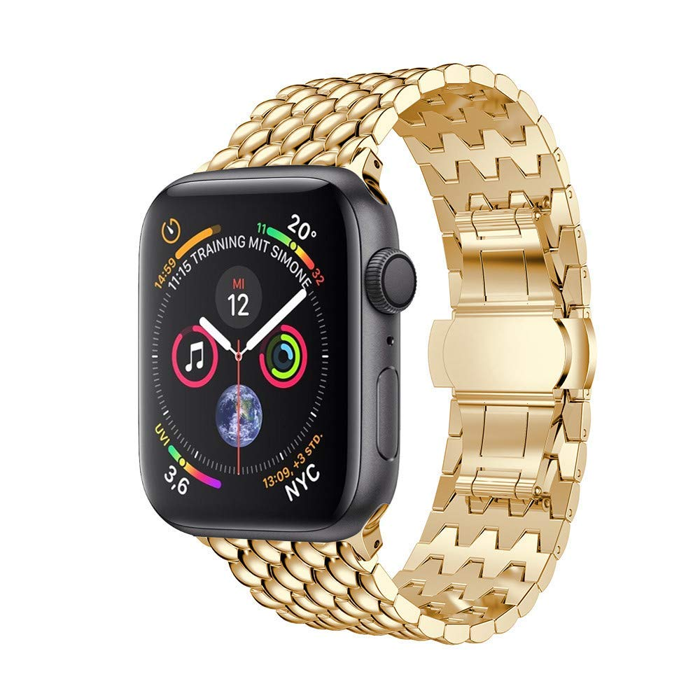 for Apple Watch Strap 40mm,AutumnFall Loop Luxury Alloy Link Bracelet Watch Band Strap for Apple Watch Series 4 40mm (Gold)