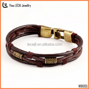 Leather Bracelet Men Braided Rustic Brown Bracelets For