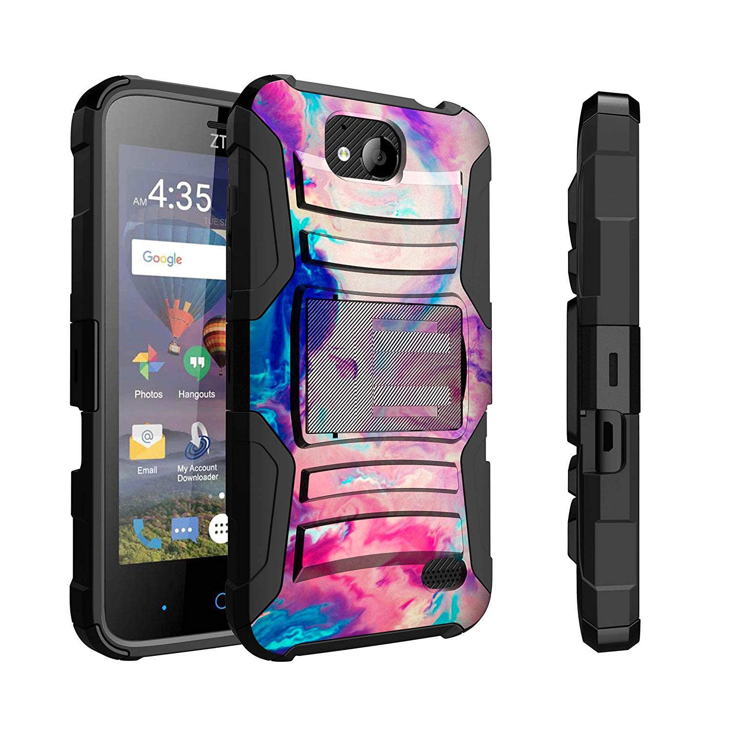 Untouchble Case for ZTE Majesty Pro Case, ZTE Majesty Pro Plus Case [Heavy Duty Clip] Dual Layer Hybrid Belt Clip Kickstand Cover Rugged - Colorful Marble