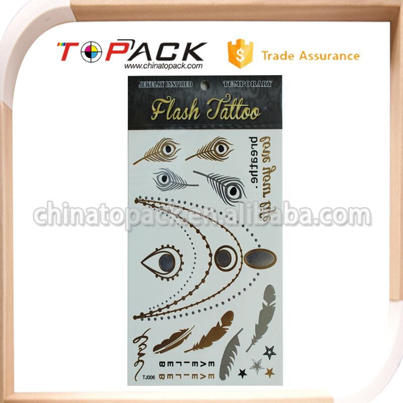 Customized free sample gold hand tattoo sticker