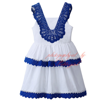 Newest Spring And Summer White Girls Dress With Jacquard Lace Dresses Shoulderless Baby Clothing GD81016-108Z