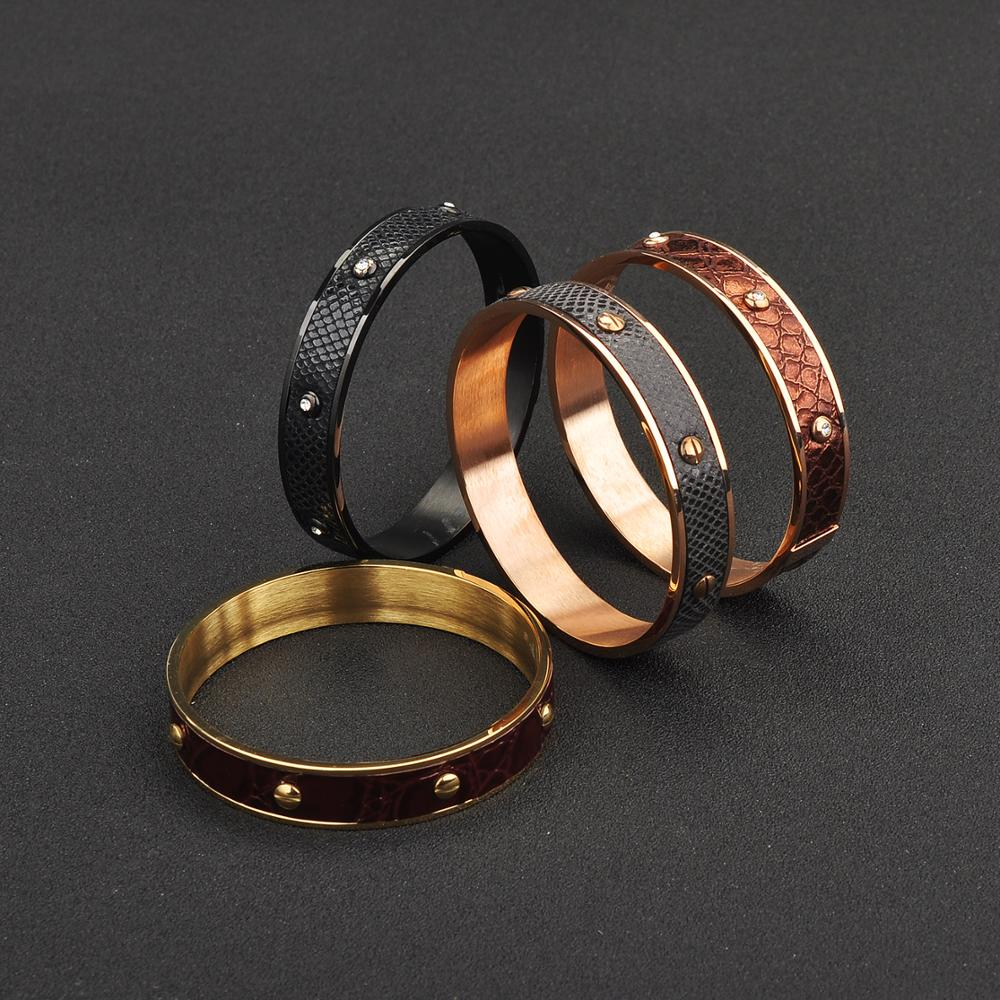 New 2019 Custom High Quality Stainless Steel Bangle Leather Bracelet Unisex