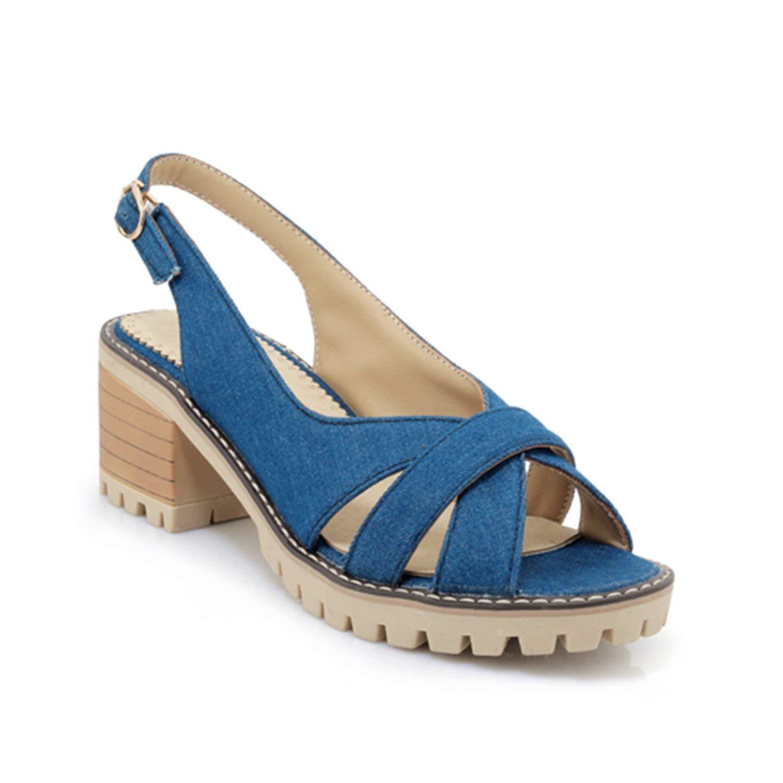 10c9c704bd Get Quotations · Aworth Denim High Heel Sandals Women Platform Sandals  Summer Shoes Woman Sandalias Mujer New