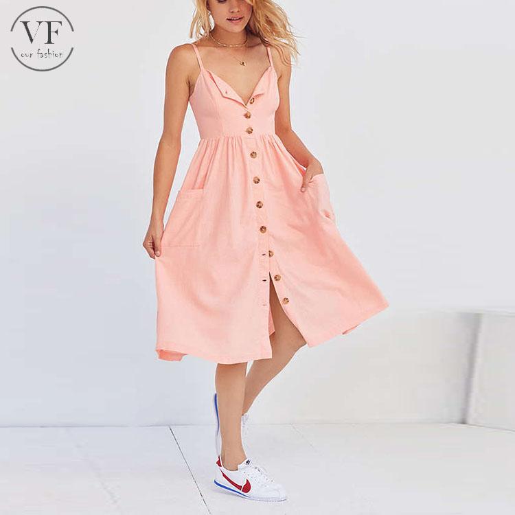 europea de mujer para con ropa mujeres línea midi moda botones de 2017 para lino vestidos una qAwSft8