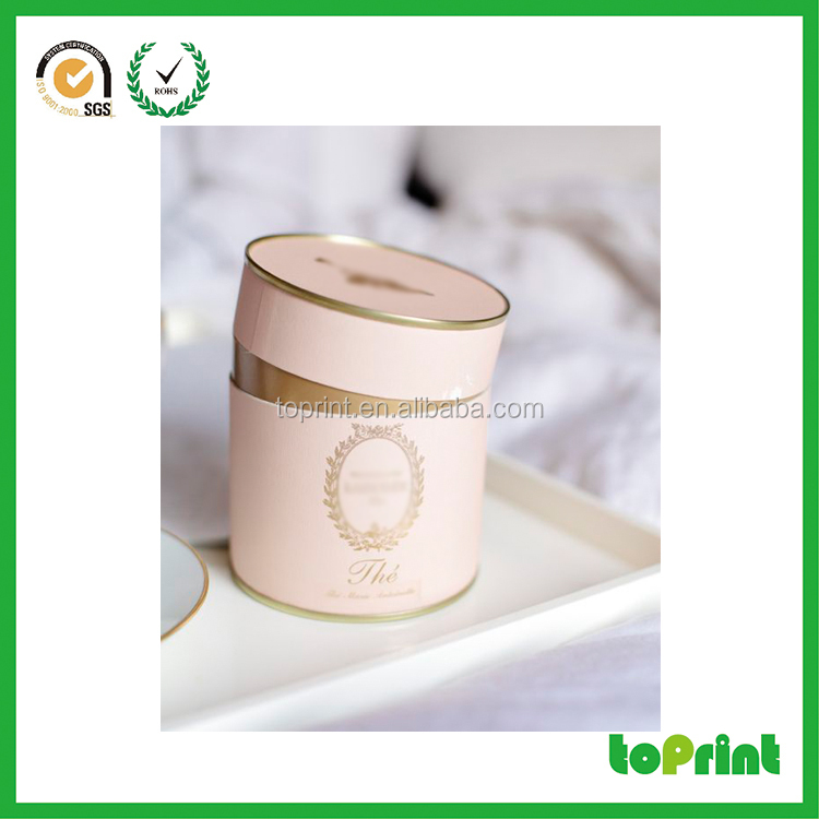CMYK all size round tea box cardboard paper tube rolled adge for tea/candy/chocolate/coffee packaging gold