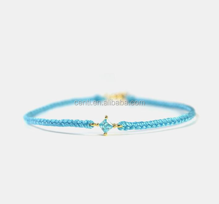 sky blue topaz diamond charm Woven bracelet lucky bracelet best gifts for her