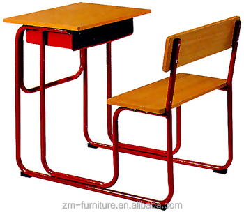 Single School Study Desk With Attached Bench Chair