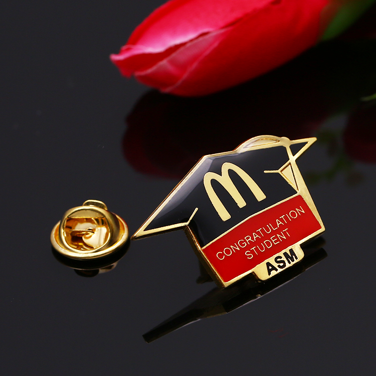 Die casting alloy gold enamel puls epoxy lapel pin for congratulation student ASM