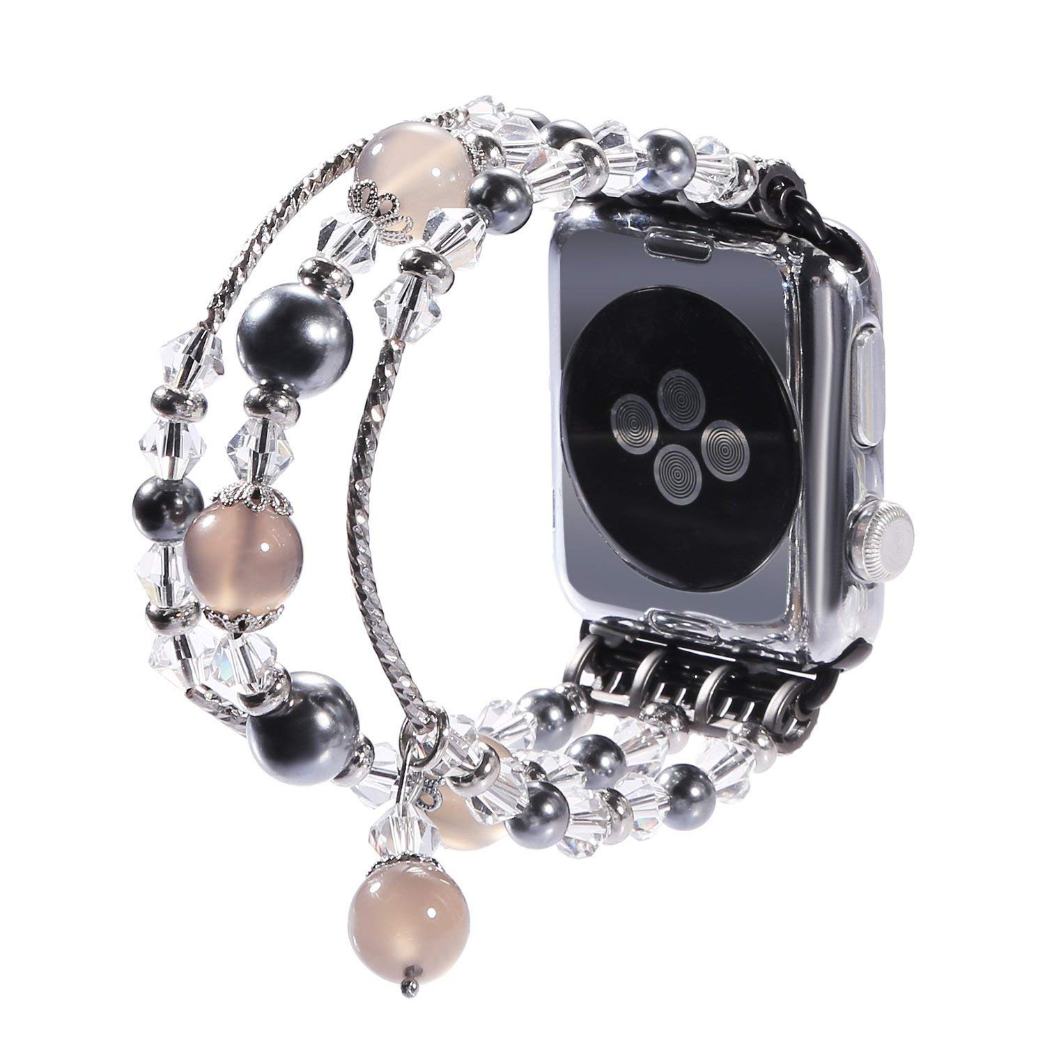 New Watch Band for Apple Watch Series 3, 2, 1, Bingkers Luxury Handmade Pearl Agate and Elastic Stretch Crystal Bracelet Strap Wristband Women Apple Watch iWatch 3/2/1 Band (Greay, 42mm)
