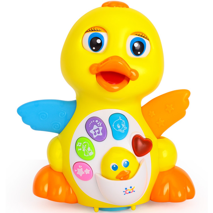 Baby Learning Intelligent Animal Toys Universal B O Yellow Musical Duck Toy with Light