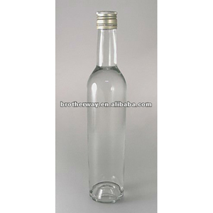 round flint glass vodka bottle