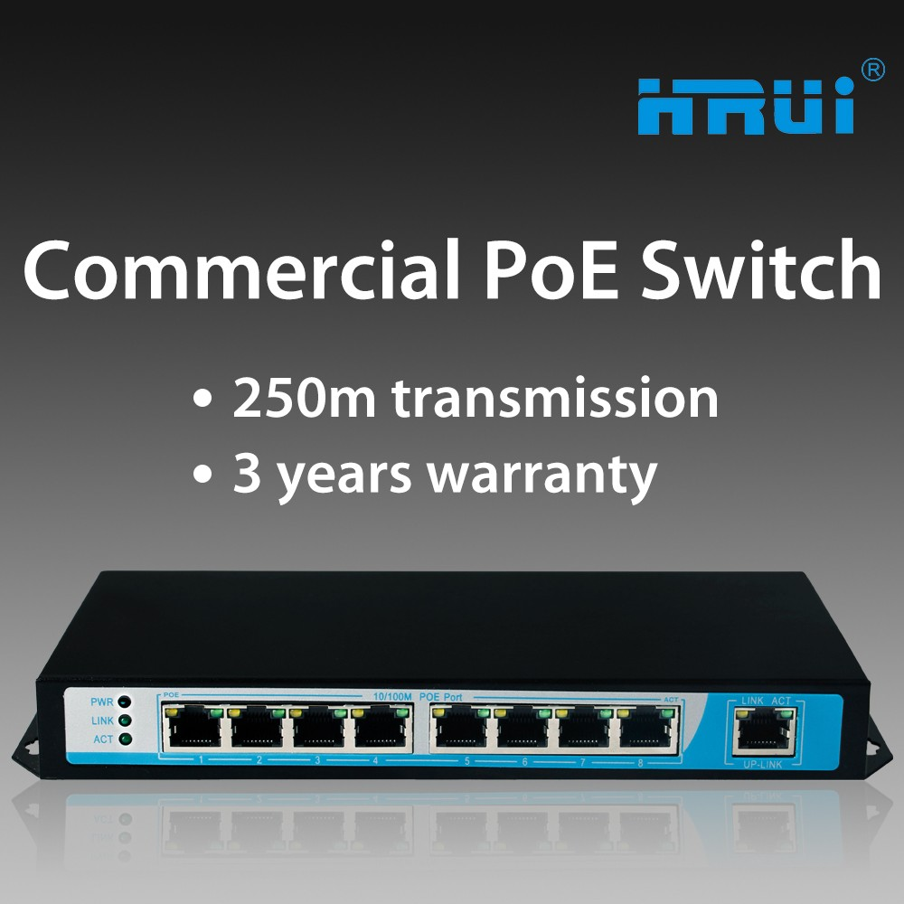 8 port poe switch ieee802.3af + 1 ethernet port each port 30w maximum