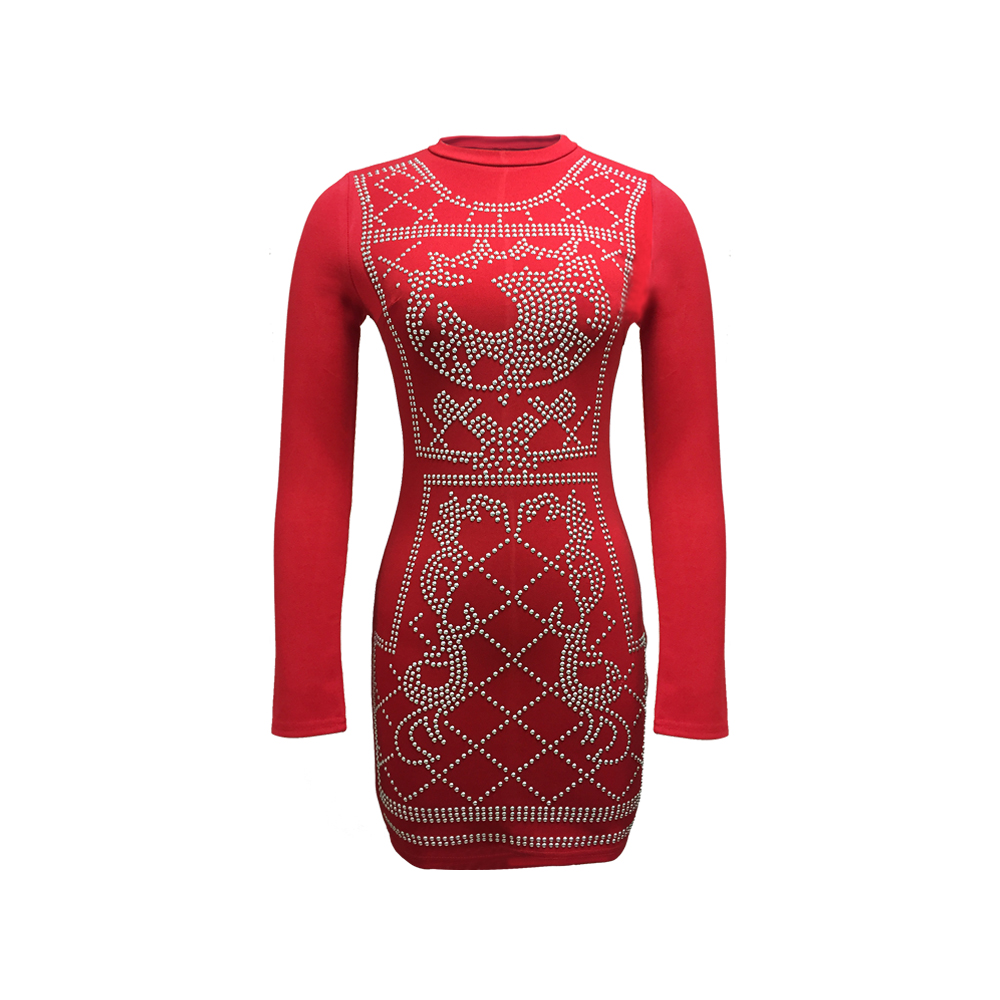 Fashion Collection Polyester Spandex Women Ladies Smart Casual Fancy Long Sleeve Red Color Bandage Dress with Chameleon Beads
