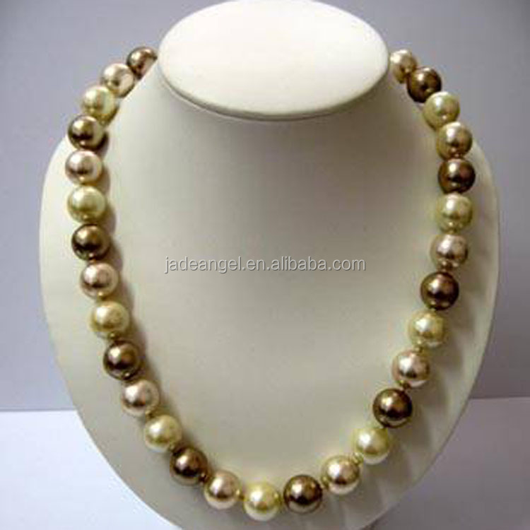 Wholesale Top Quality 12mm Round Multicolor Shell Tahitian Pearls Bead Necklace Designs