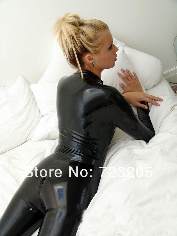 Fashion women Black 100% nature rubber catsuit sexy latex costume with front zipper under crotch for adult plus size Hot sale