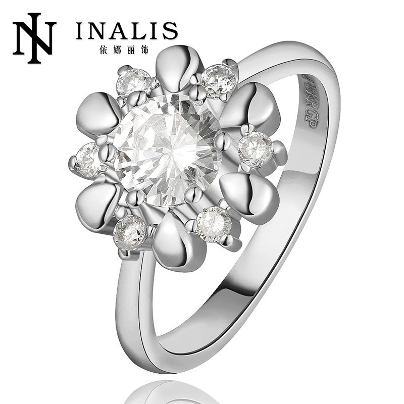 Exquisite Flower Shaped Big Stone Ladies Alloy 18kgp Ring Jewelry
