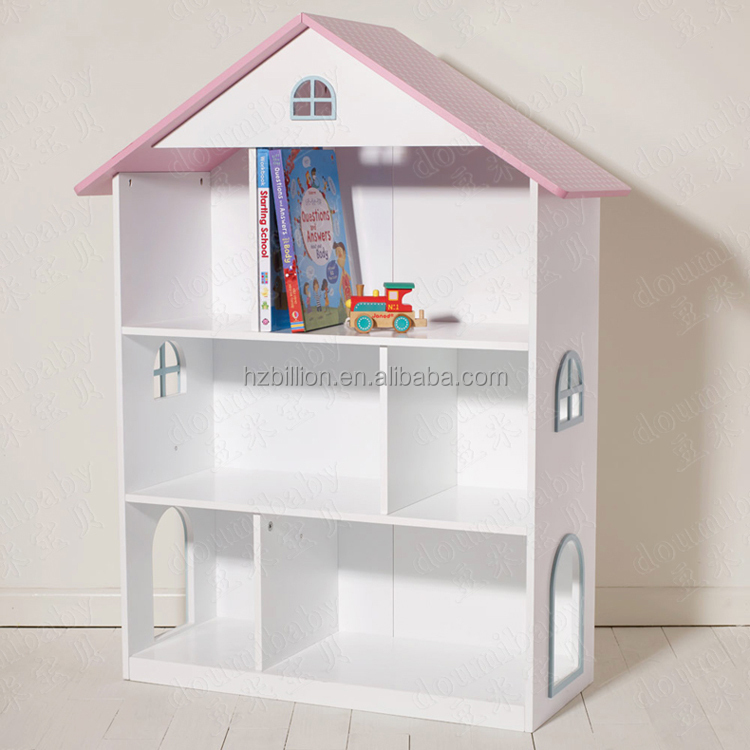 Lovely White European Style Wooden Kids Bedroom Dollhouse Bookcase Kids  Furniture
