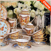 New Design Butterfly Pattern Tea Cup and Saucer Set /Yellow Color Bone China 15 Pcs Ceramic Tea Set