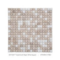 Polished Travertine Mixed Paper White Square Marble Mosaic Tile