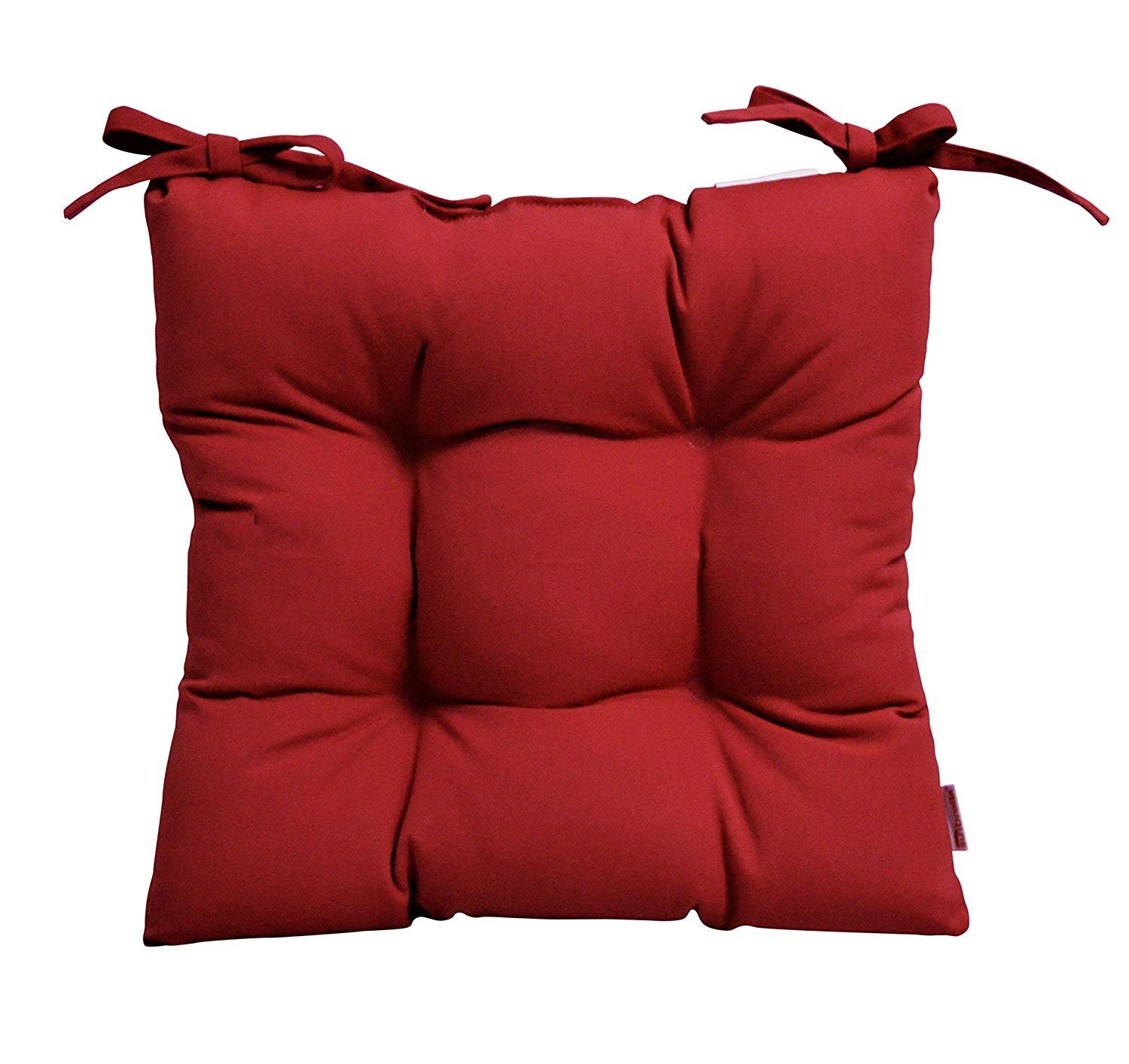"""RSH Décor Indoor/Outdoor Sunbrella Canvas Jockey Red Tufted Seat Cushion with Ties for Dining/Patio Chairs - Choose Size (16"""" x 16"""")"""